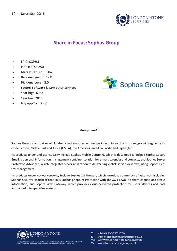 Weekly Report: Sophos Group - London Stone Securities